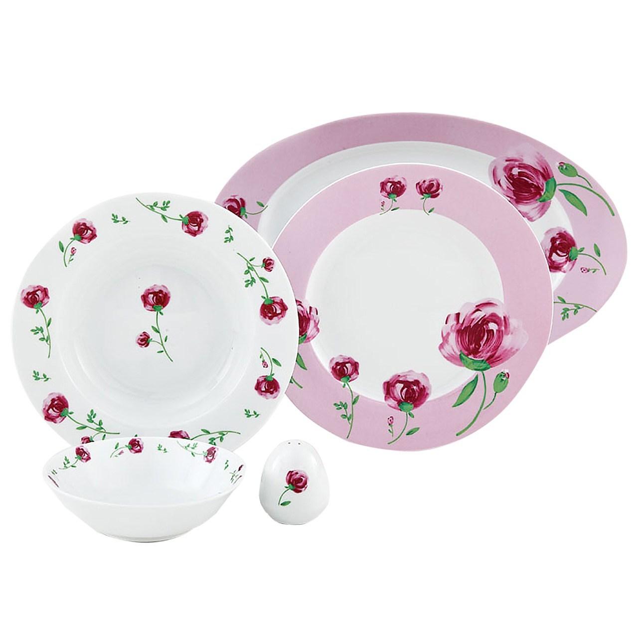 سرویس غذاخوری 28 پارچه چینی زرین ایران سری ایتالیا اف مدل Pink Rose 2 درجه عالی