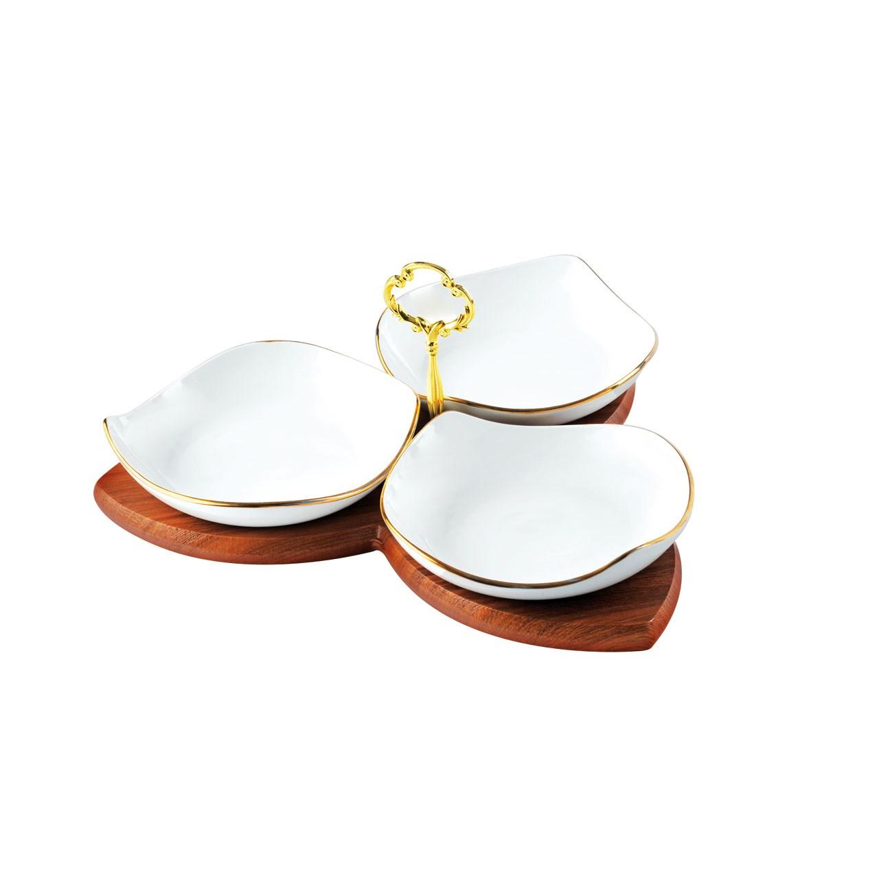 اردو خوری لیمون چینی پایه چوبی مدل شیوا خط طلا