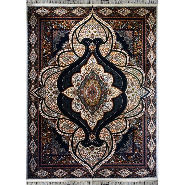 فرش ماشینی احتشامیه طرح کیمیا زمینه کرم