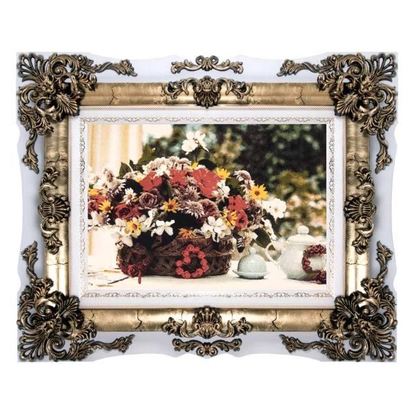 تابلو فرش ماشینی دنیای فرش طرح گلدان و قوری کد 179