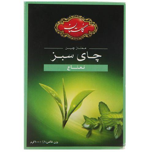 چای سبز گلستان با طعم نعنا مقدار 100 گرم