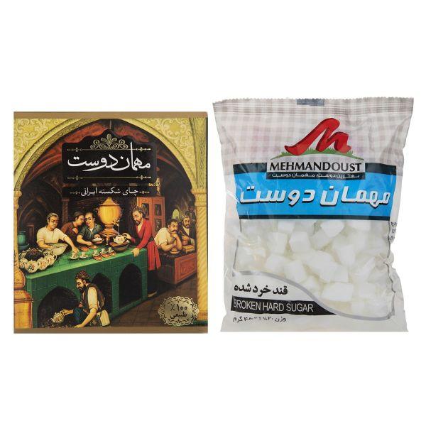 چای شکسته ایرانی مهمان دوست مقدار 450 گرم به همراه قند شکسته مهمان دوست مقدار 450 گرم