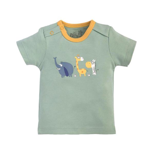تی شرت آستین کوتاه نوزادی نیلی مدل ZOO54