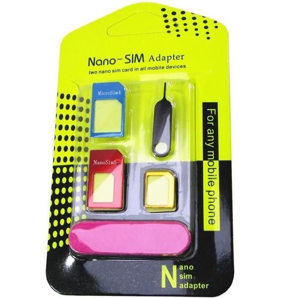 تبدیل سیم کارت های نانو و میکرو به استاندارد نانوسیمآداپتور 5 در 1 | Simadapter 5 In 1 Nano Sim Adapter