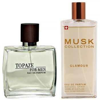 ادو پرفیوم مردانه استاویتا مدل Topaze حجم 100 میلی لیتر به همراه ادو پرفیوم زنانه ماسک کالکشن مدل Glamour حجم 100 میلی لیتر