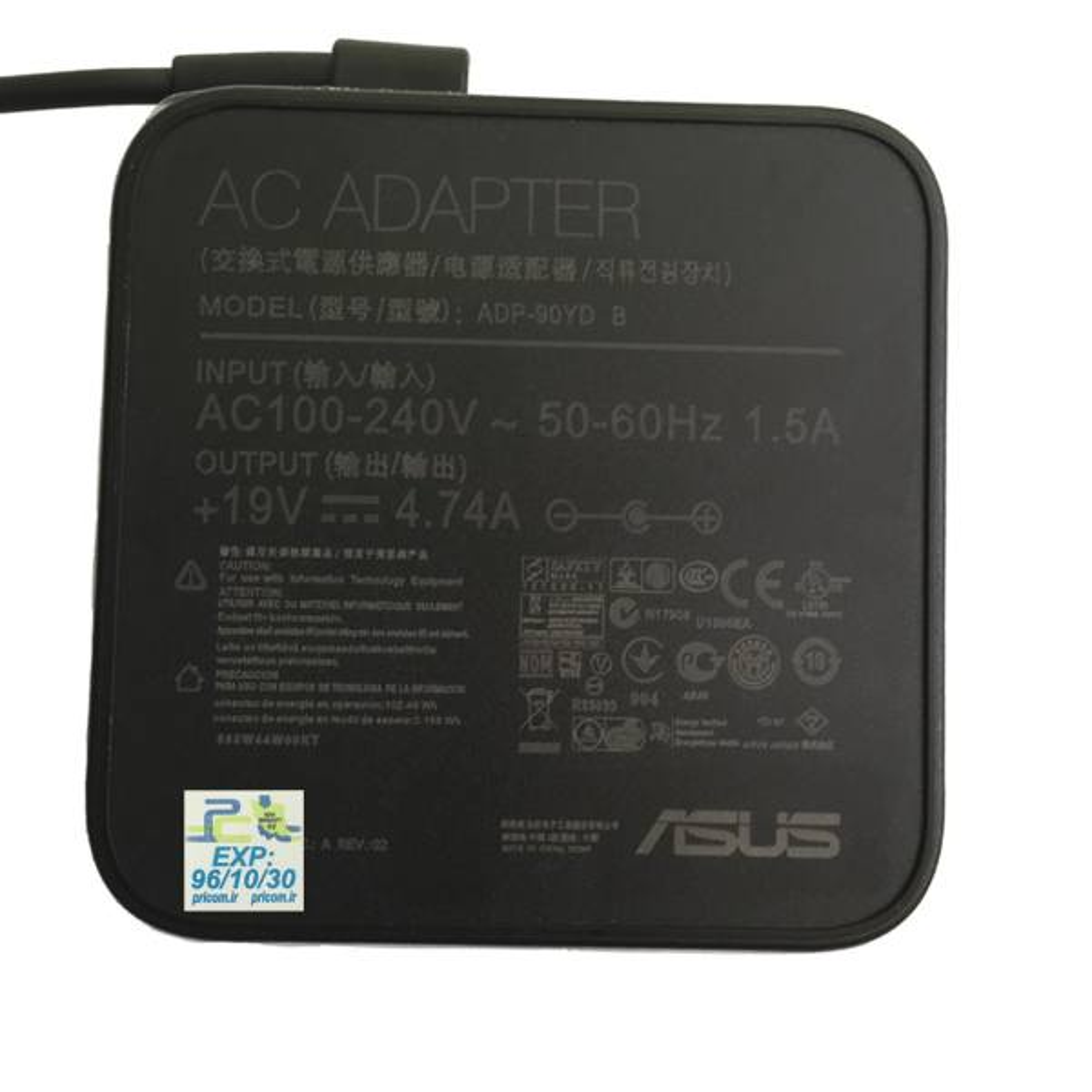 شارژر لپ تاپ 19 ولت 4.7 آمپر ایسوس مدل مربع