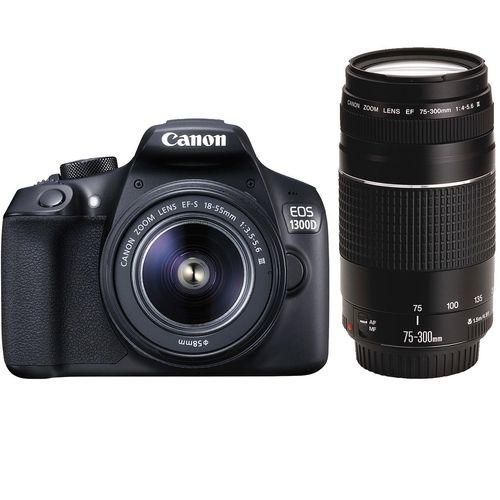 دوربین دیجیتال کانن مدل EOS 1300D به همراه لنز 18-55 میلیمتر DC III و 75-300 میلیمتر