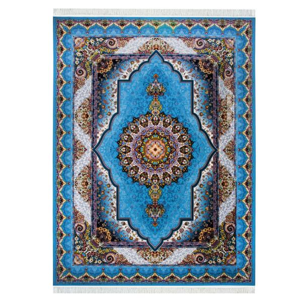 فرش ماشینی احتشامیه طرح باغ بهشت زمینه فیروزه ای