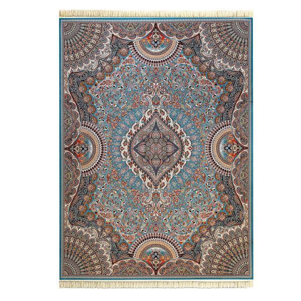 فرش ماشینی داریوش طرح آویلار زمینه آبی فیروزه ای 1000 شانه
