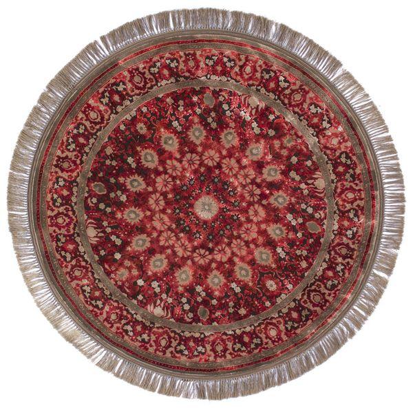 فرش ماشینی عرش طرح برین دایره زمینه قرمز