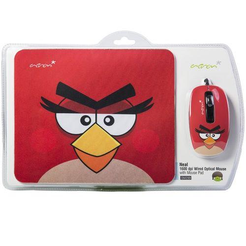 ماوس اپتیکال همراه با ماوس پد اکرون مدل OM299 طرح Angry Birds