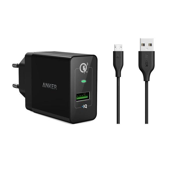 شارژر دیواری انکر 18 وات مدل Quick Charge 3.0 Power Port plus 1 A2013 همراه با کابل micro USB