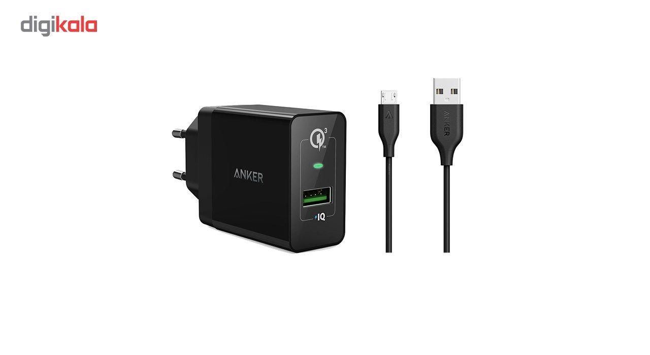 شارژر دیواری انکر 18 وات مدل Quick Charge 3.0 Power Port plus 1 A2013 همراه با کابل micro USB main 1 1