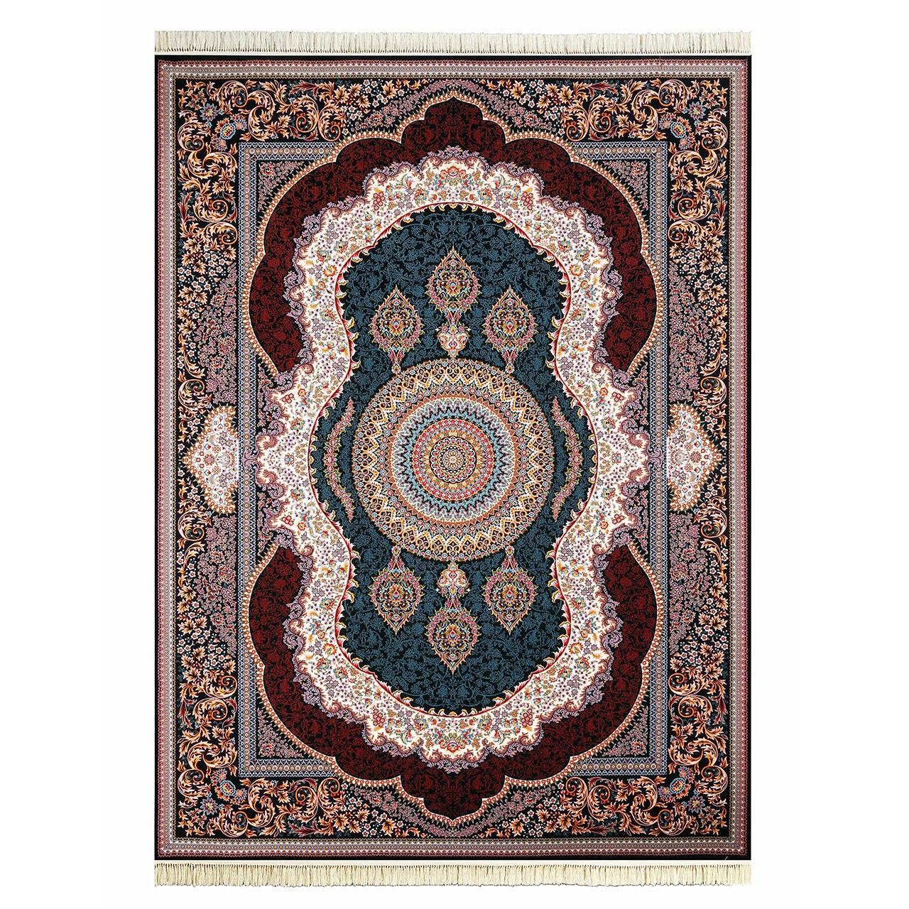 فرش ماشینی داریوش طرح کهربا زمینه سرمه ای