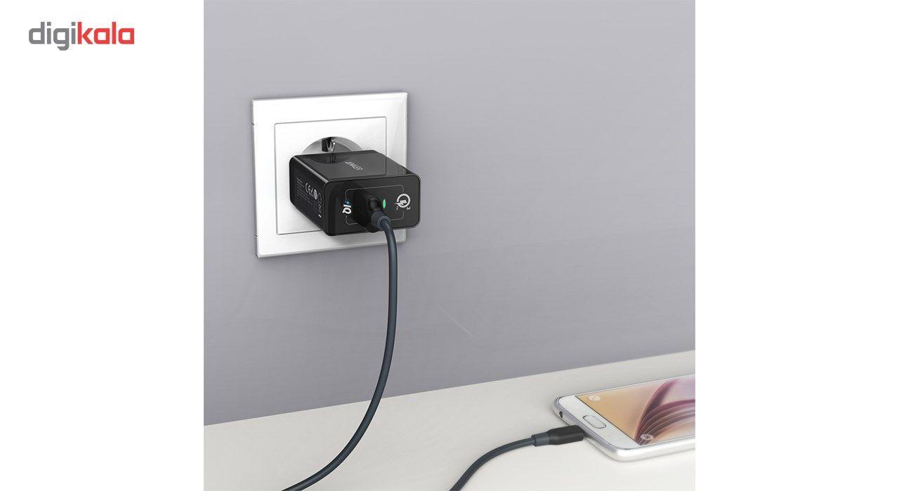 شارژر دیواری انکر 18 وات مدل Quick Charge 3.0 Power Port plus 1 A2013 همراه با کابل micro USB main 1 9