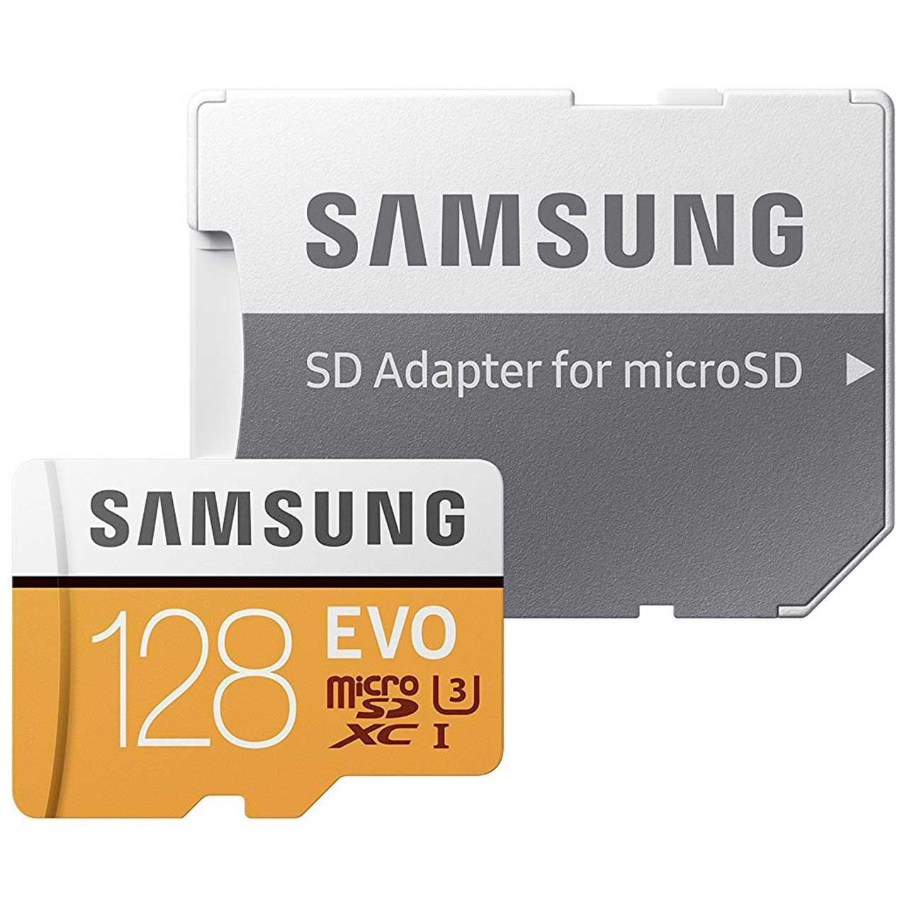 کارت حافظه microSDXC سامسونگ مدل Evo کلاس 10 استاندارد UHS-I U3 سرعت 100MBps همراه با آداپتور SD ظرفیت 128 گیگابایت