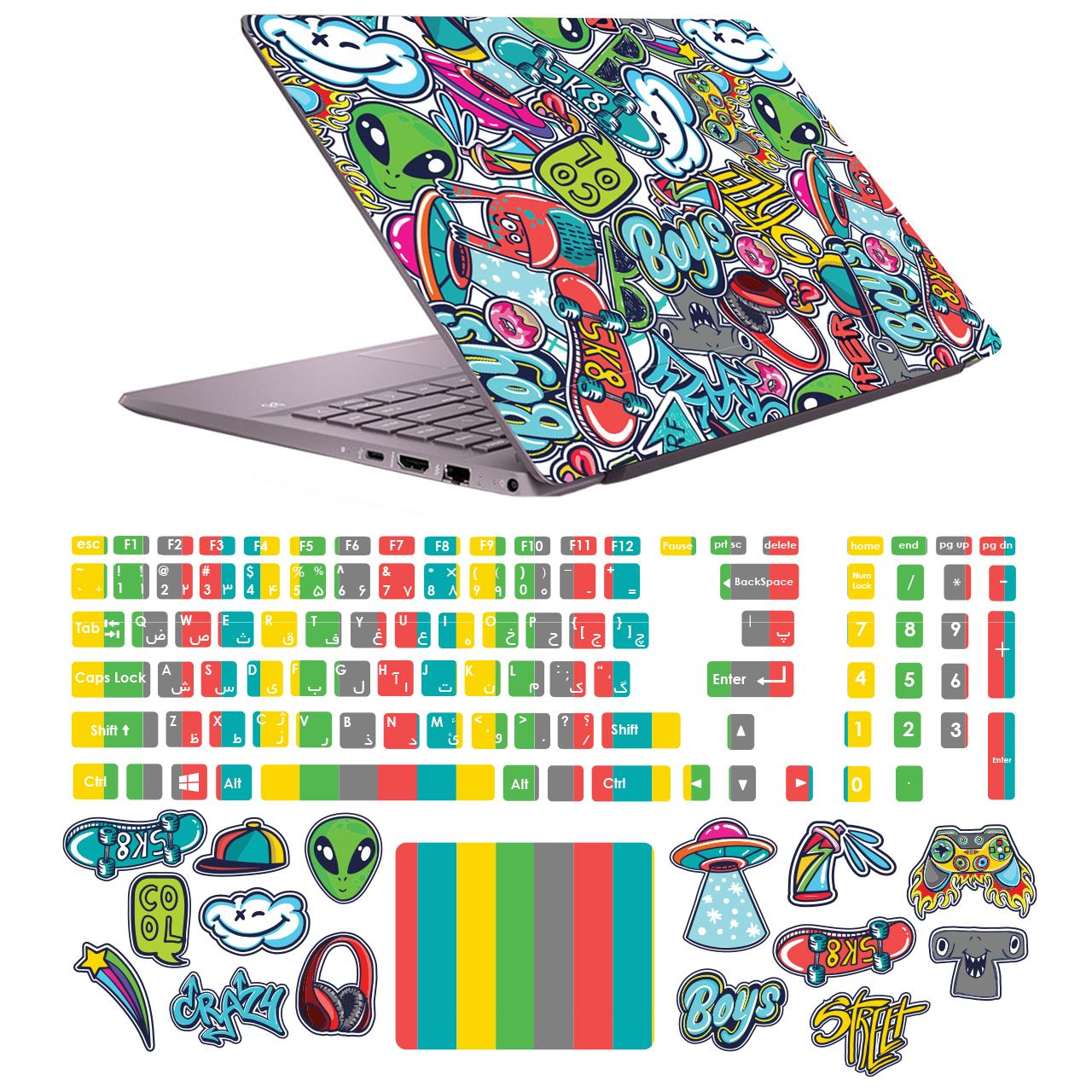 بررسی و {خرید با تخفیف} استیکر لپ تاپ مدل 6048 hk مناسب برای لپ تاپ 15.6 اینچ به همراه برچسب حروف فارسی کیبورد اصل