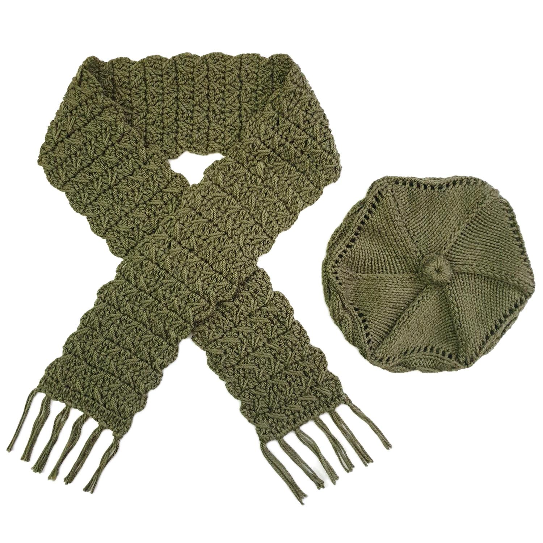 ست كلاه و شال گردن بافتنی زنانه كد SHB3-DGR