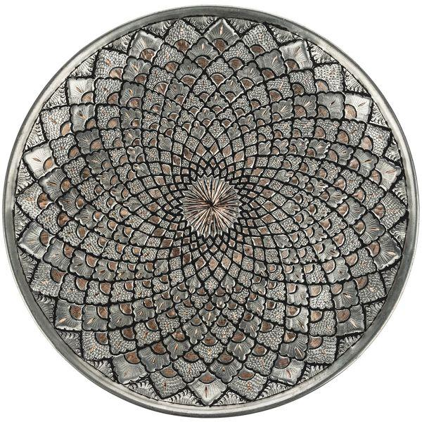بشقاب قلمزنی کارگاه رستا زمینه مس طرح 1 قطر 30 سانتی متر