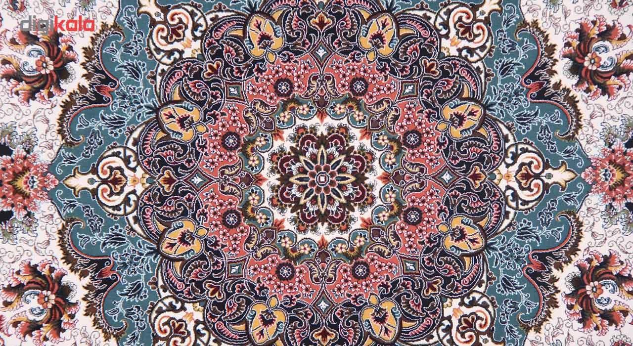 فرش ماشینی زمرد مشهد طرح 36006 زمینه کرم