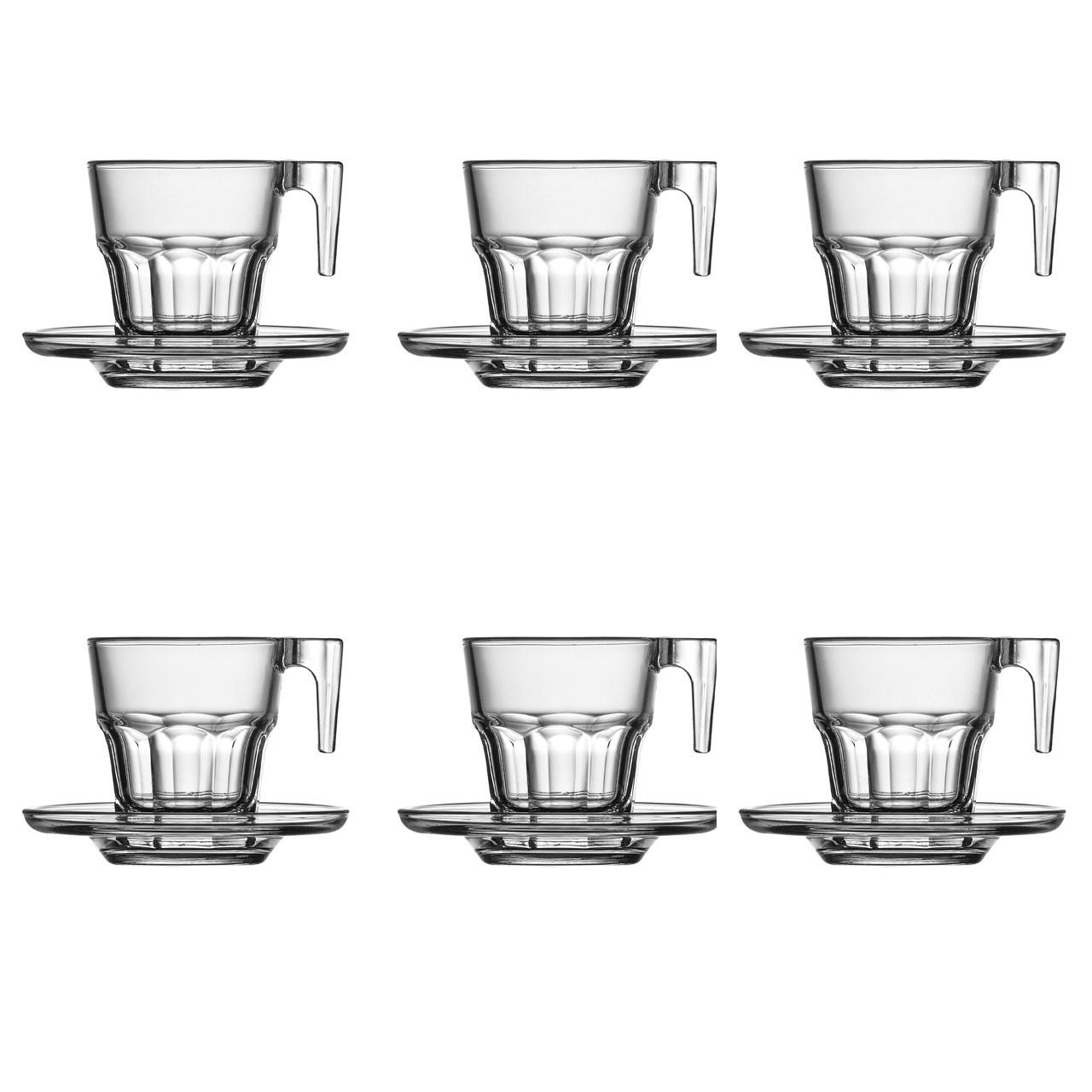 عکس ست فنجان و نعلبکی پاشاباغچه مدل 95753-بسته 6 عددی