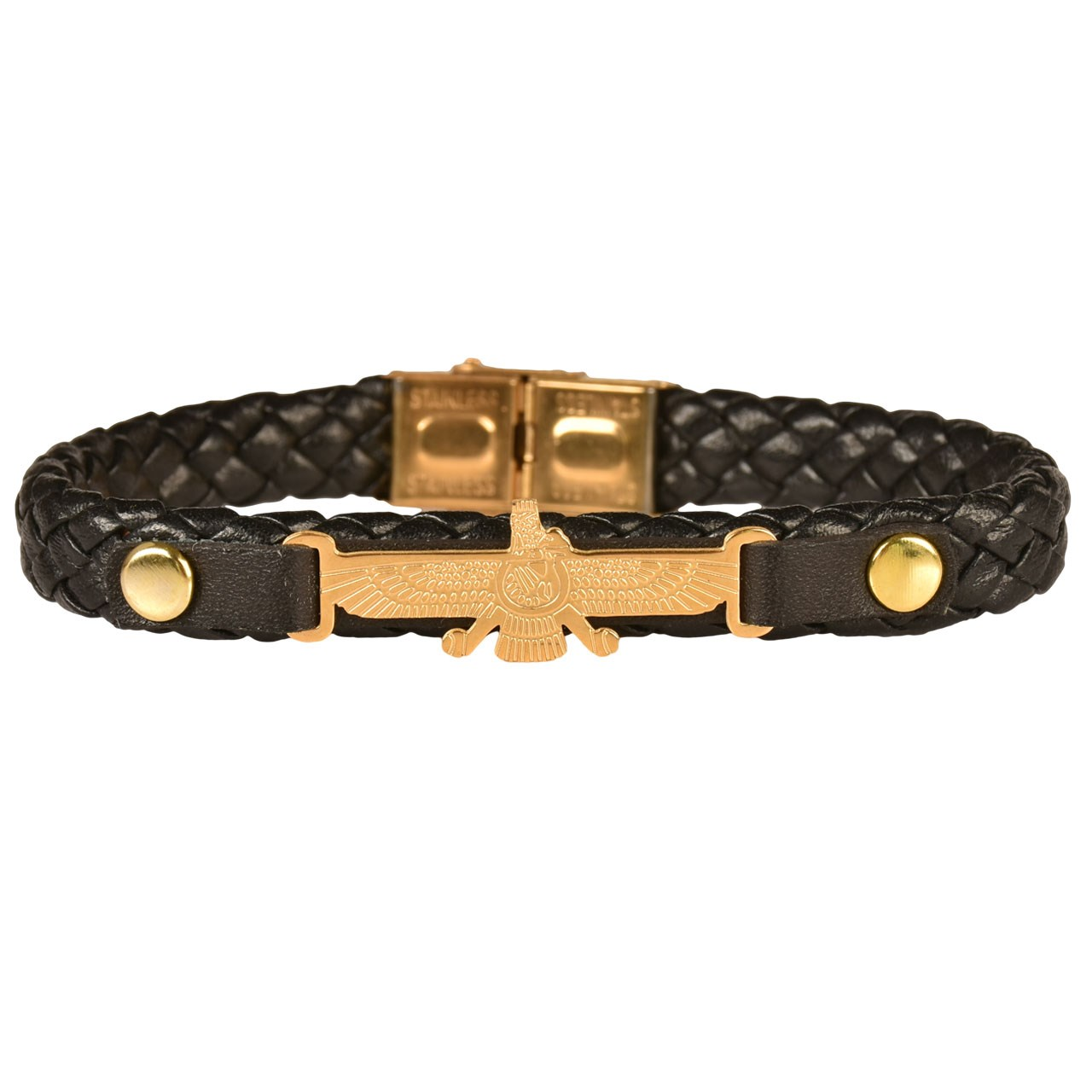 دستبند چرمی کهن چرم طرح فروهر مدل BR78