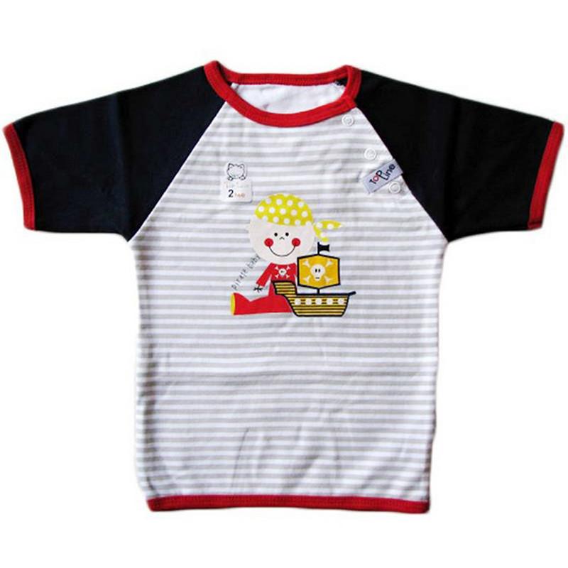 تی شرت آستین کوتاه نوزادی تاپ لاین طرح دزد دریایی