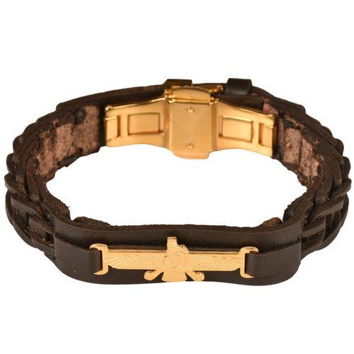 دستبند چرمی کهن چرم طرح فروهر مدل BR72-7