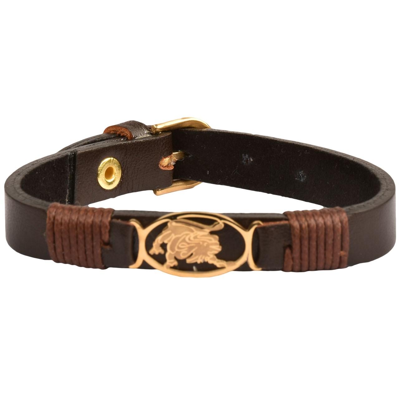 دستبند چرمی کهن چرم طرح تولد مرداد مدل BR42-7