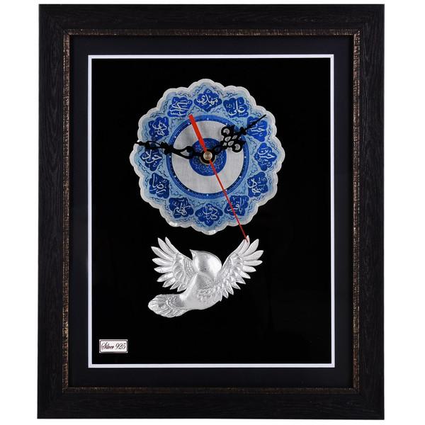 ساعت نقره گالری گنجینه طرح ائمه اطهار و پرنده مدل 00-34