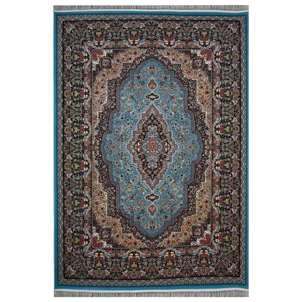 فرش ماشینی فرش هدیه طرح مسیحا زمینه آبی