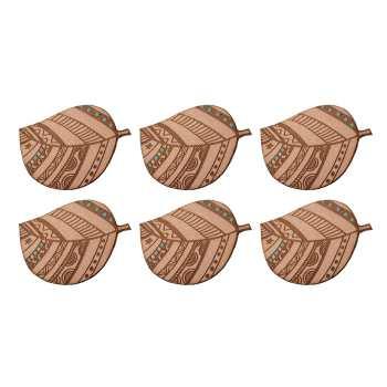 زیرلیوانی چوبی نفیس طرح برگ کد zhb - بسته 6 عددی