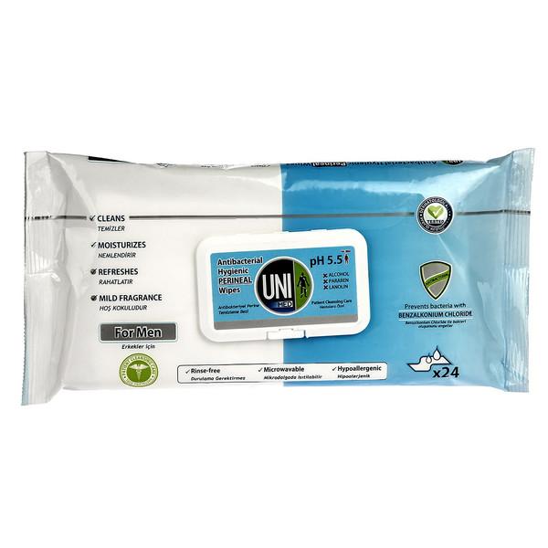 دستمال مرطوب آقایان یونی لد مدل Antibacterial Hygienic Perineal بسته 24 عددی