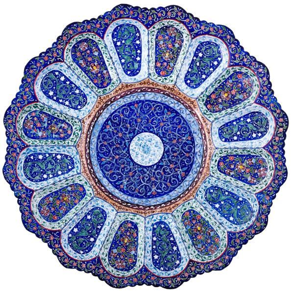 بشقاب مسی میناکاری اثر لطیفیان طرح ماهتاب مدل 00-13 قطر 27 سانتی متر