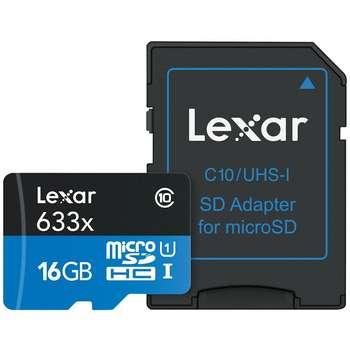 کارت حافظه microSDHC لکسار مدل High-Performance کلاس 10 استاندارد UHS-I U1 سرعت 95MBps 633X همراه با آداپتور SD ظرفیت 16 گیگابایت