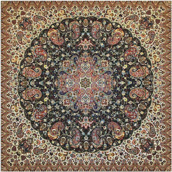 رومیزی ترمه ابریشمی خانه ترمه ایران طرح شاهپسند ممتاز 5533 سایز 100 × 100