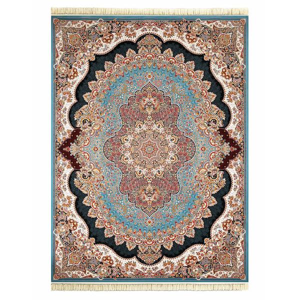 فرش ماشینی داریوش طرح ارکیده زمینه  آبی فیروزه ای