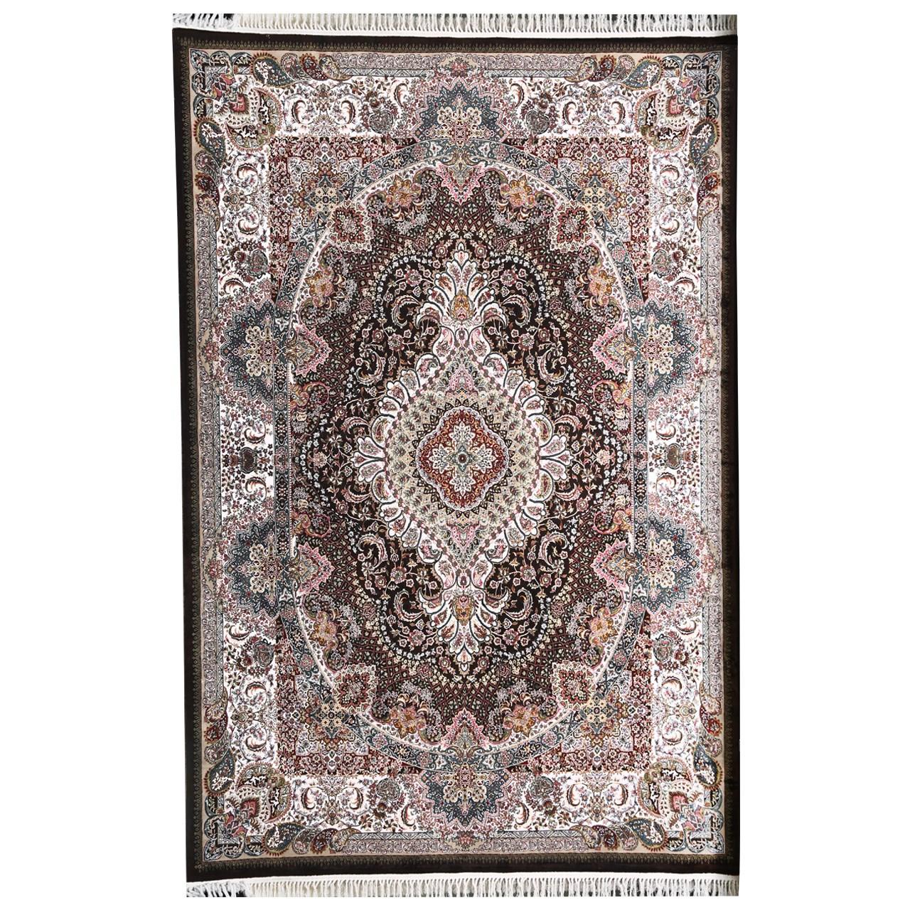 فرش ماشینی مهتاب پارسیان طرح شفق زمینه قهوه ای