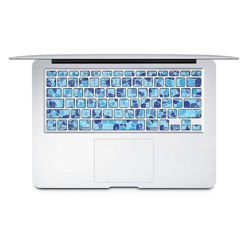 برچسب تزئینی کیبورد ونسونی مدل Blue Mosaic به همراه حروف فارسی مناسب برای مک بوک