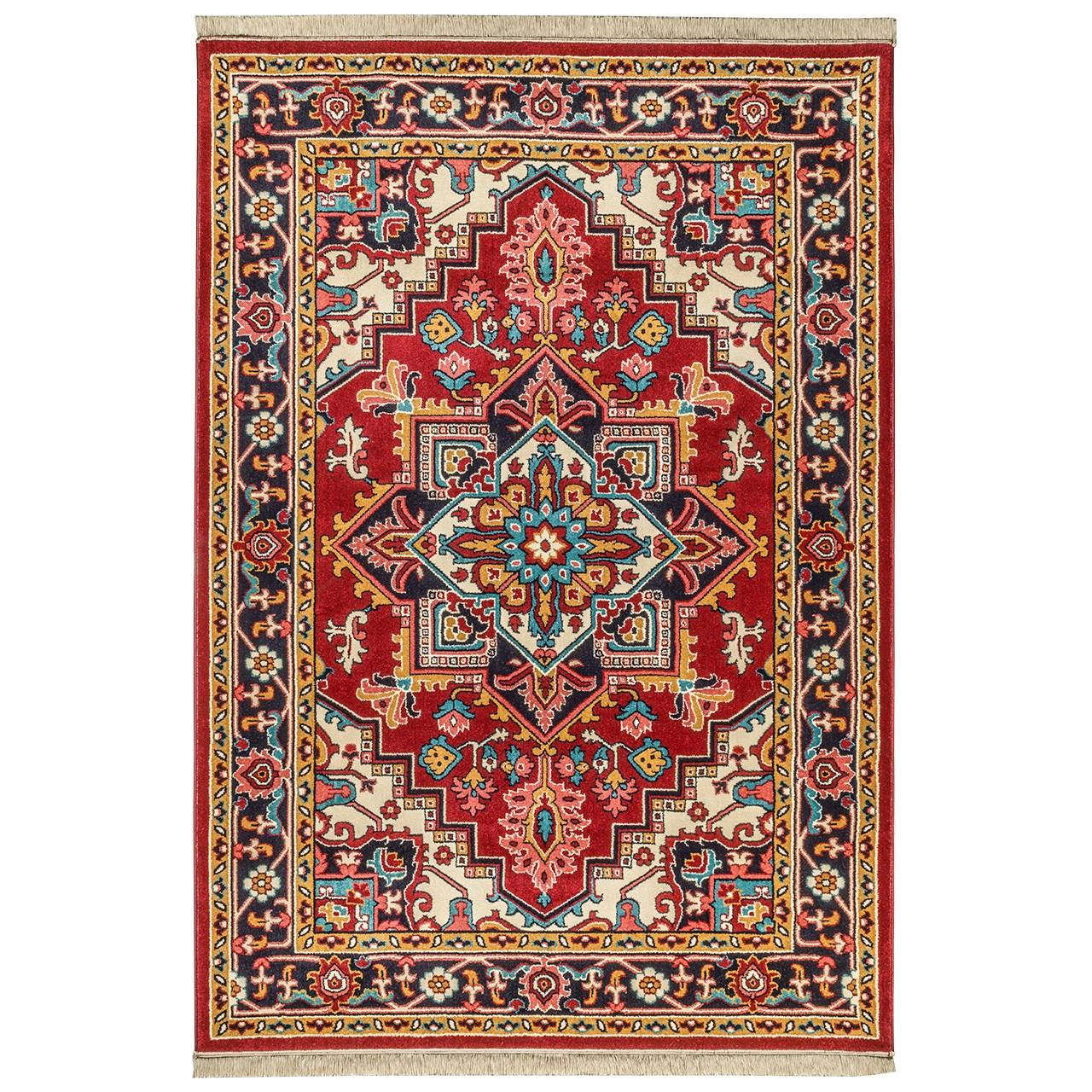 فرش ماشینی سهند کد B045.BJ طرح هریس زمینه قرمز کالیته بختیاری