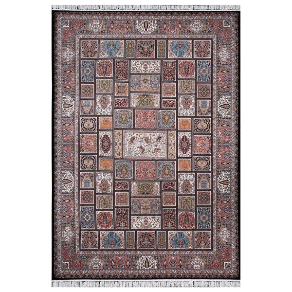 فرش ماشینی فرش هدیه طرح خشتی شکارگاه کد 6016 زمینه سورمه ای