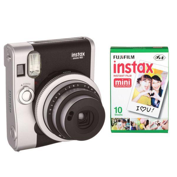 دوربین عکاسی چاپ سریع فوجی فیلم مدل Instax mini 90 Neo Classic همراه با یک بسته فیلم 10 تایی
