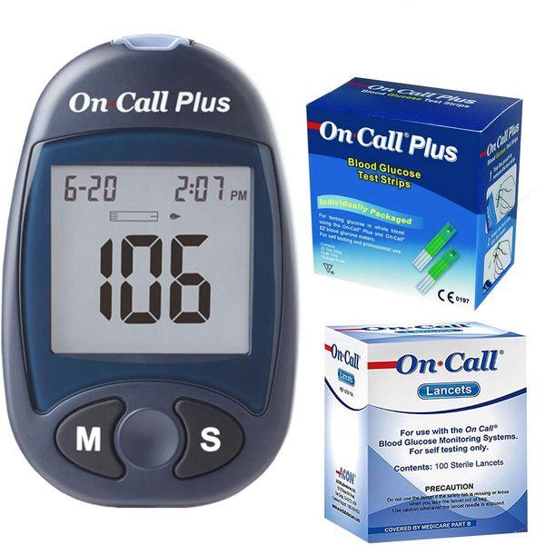 دستگاه تست قند خون ایکان مدل On Call Plus G113-111 به همراه یک بسته نوار تست و یک بسته سوزن