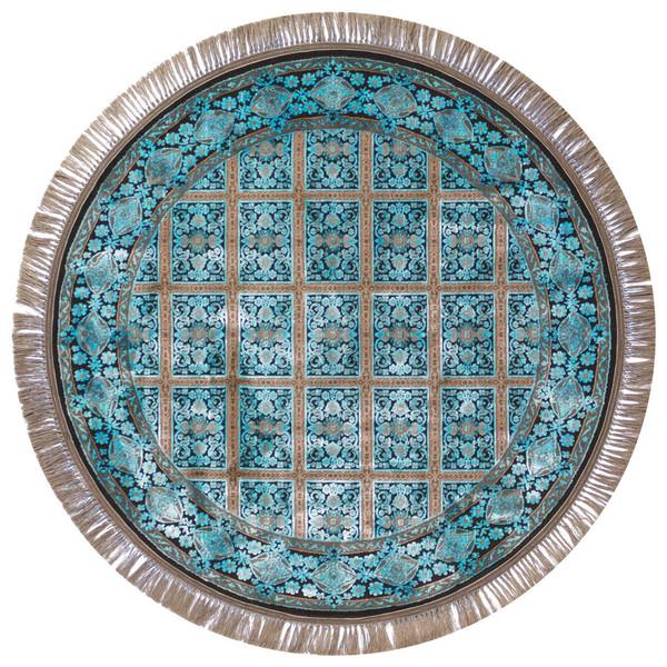 فرش ماشینی عرش طرح بیژن دایره زمینه آبی
