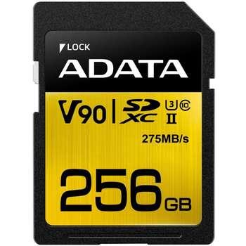 کارت حافظه SDXC ای دیتا مدل Premier ONE V90 کلاس 10 استاندارد UHS-II U3 سرعت 275MBps ظرفیت 256 گیگابایت