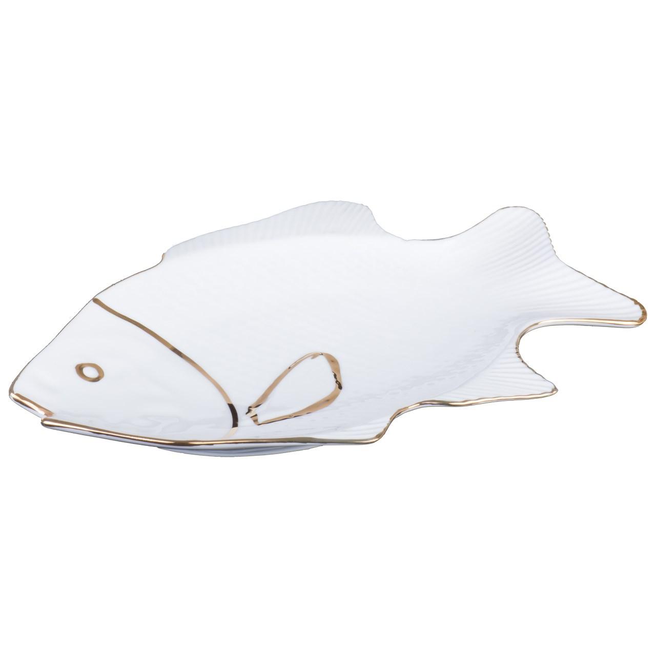 دیس لیمون چینی طرح ماهی دو خط طلا سایز بزرگ