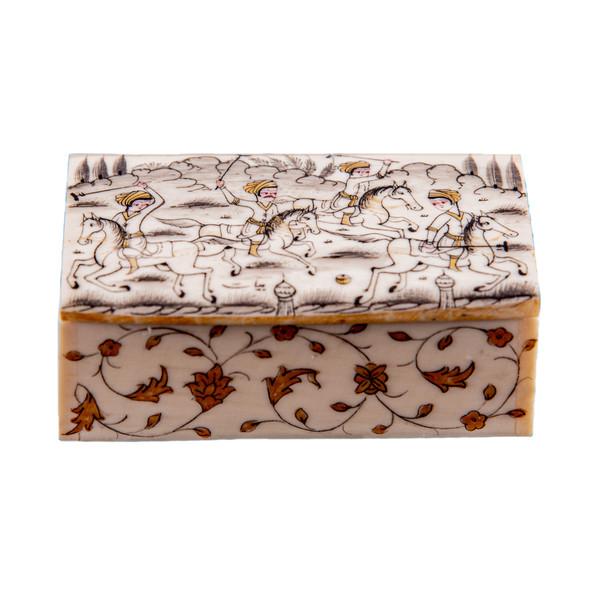 جعبه جواهرات استخوانی طرح چوگان مدل ارشک کد 1