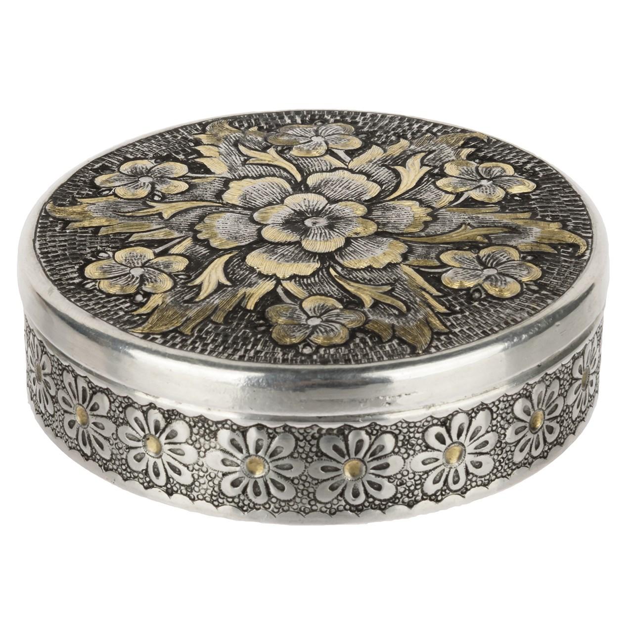 جعبه جواهرات قلمزنی اثر خرم نژاد مدل دایره ای طرح گل