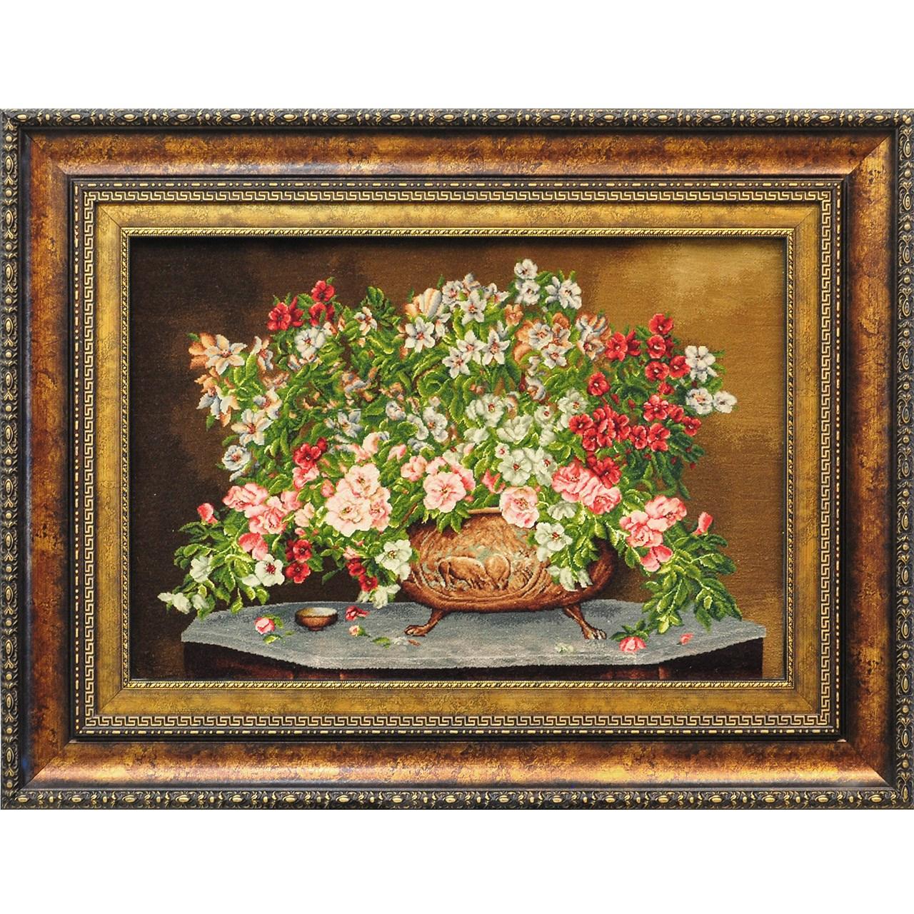 تابلو فرش دستبافت سیرمان طرح گل های مینیاتوری کد 2379