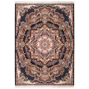 فرش ماشینی سرزمین فرش طرح یاس زمینه سرمه ای